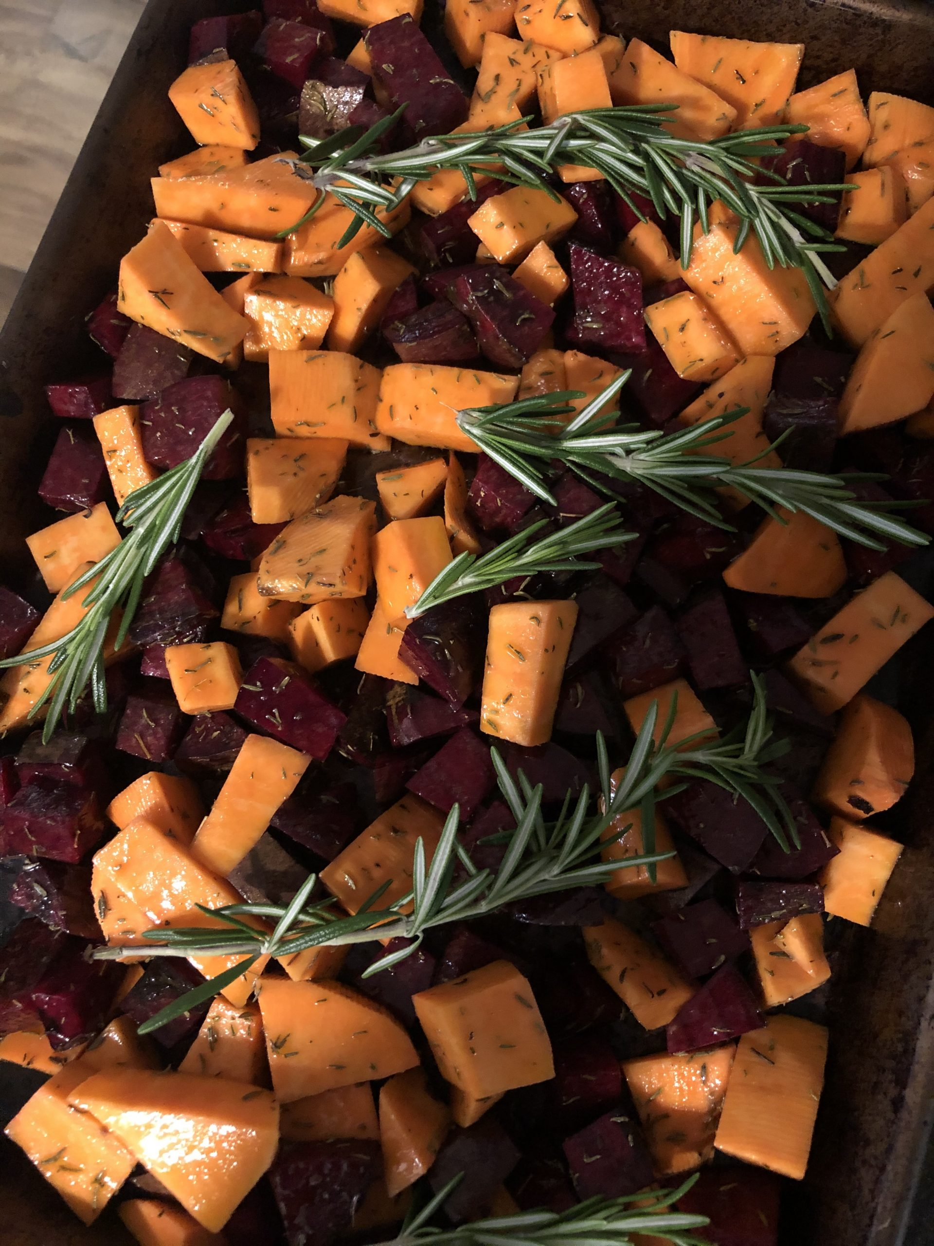 Roasted beet and sweet potato